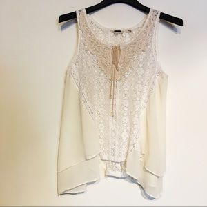 Miss Me Cream & Tan Lace swing tank with Tie